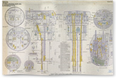6-inch Triple Mounting Marck XXIII plan relating HMS 'Belfast'