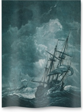 A ship scudding in a gale