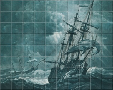 A ship scudding in a gale