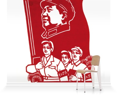Three Red Guards with Mao Banner