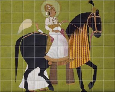 Maharaja Sawai Pratap Singh Rides the Horse Dhajrao