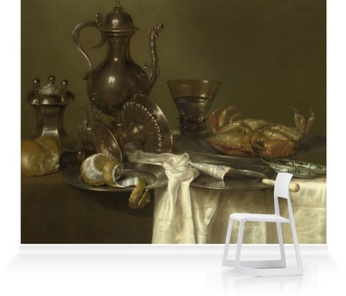 Pewter and Silver Vessels and a Crab, by Willem Claesz. Heda, 1633-7.