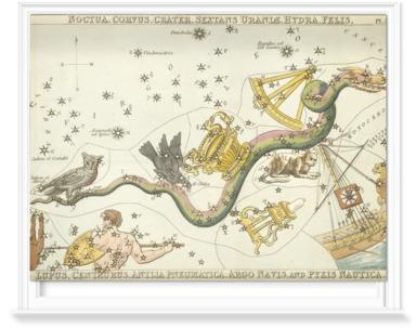 Noctua, Corvus, Crater, Sextans, Uraniae, Hydra, Felis.