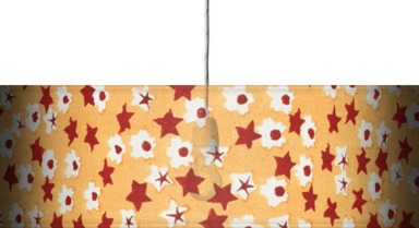 Red stars on peach coloured background
