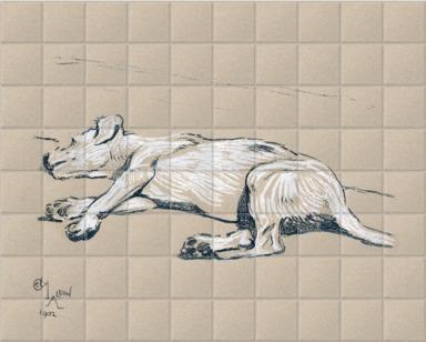A dog lying on the floor