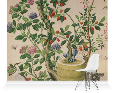 Flower vase on stool with flowering tree