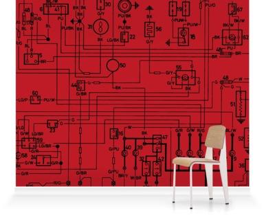 Deep Red Circuit Drawing