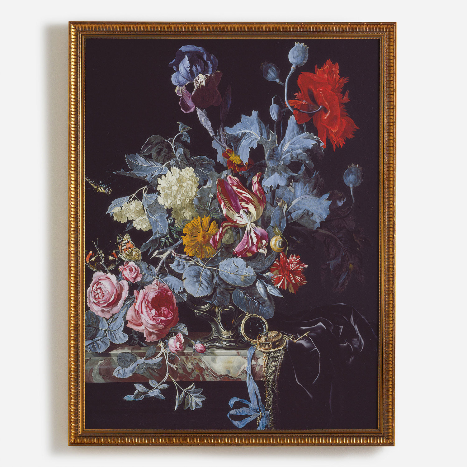 A Vase Of Flowers With A Watch Surfaceview
