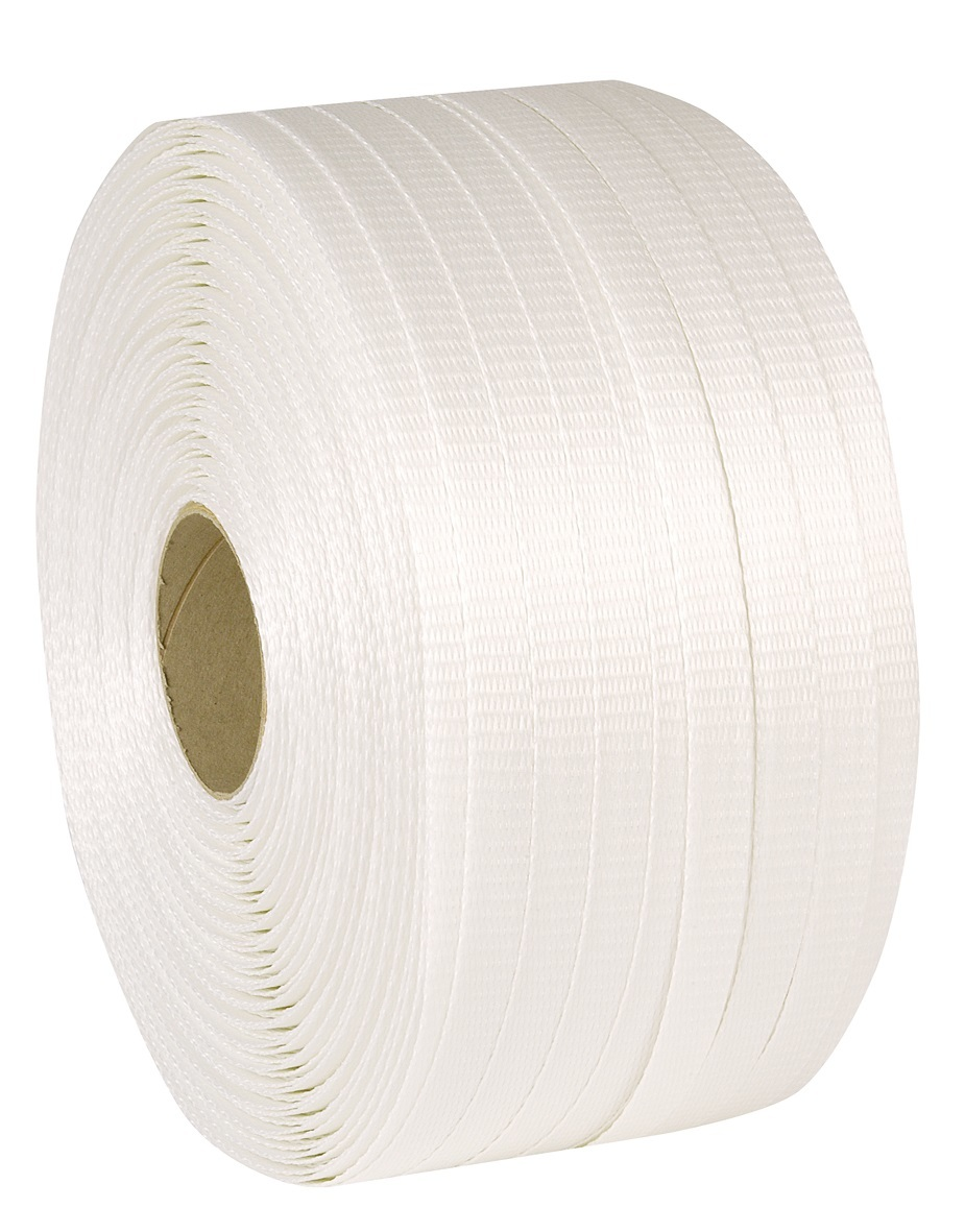 13mm x 1100m  375kg Woven Cord Polyester Strapping