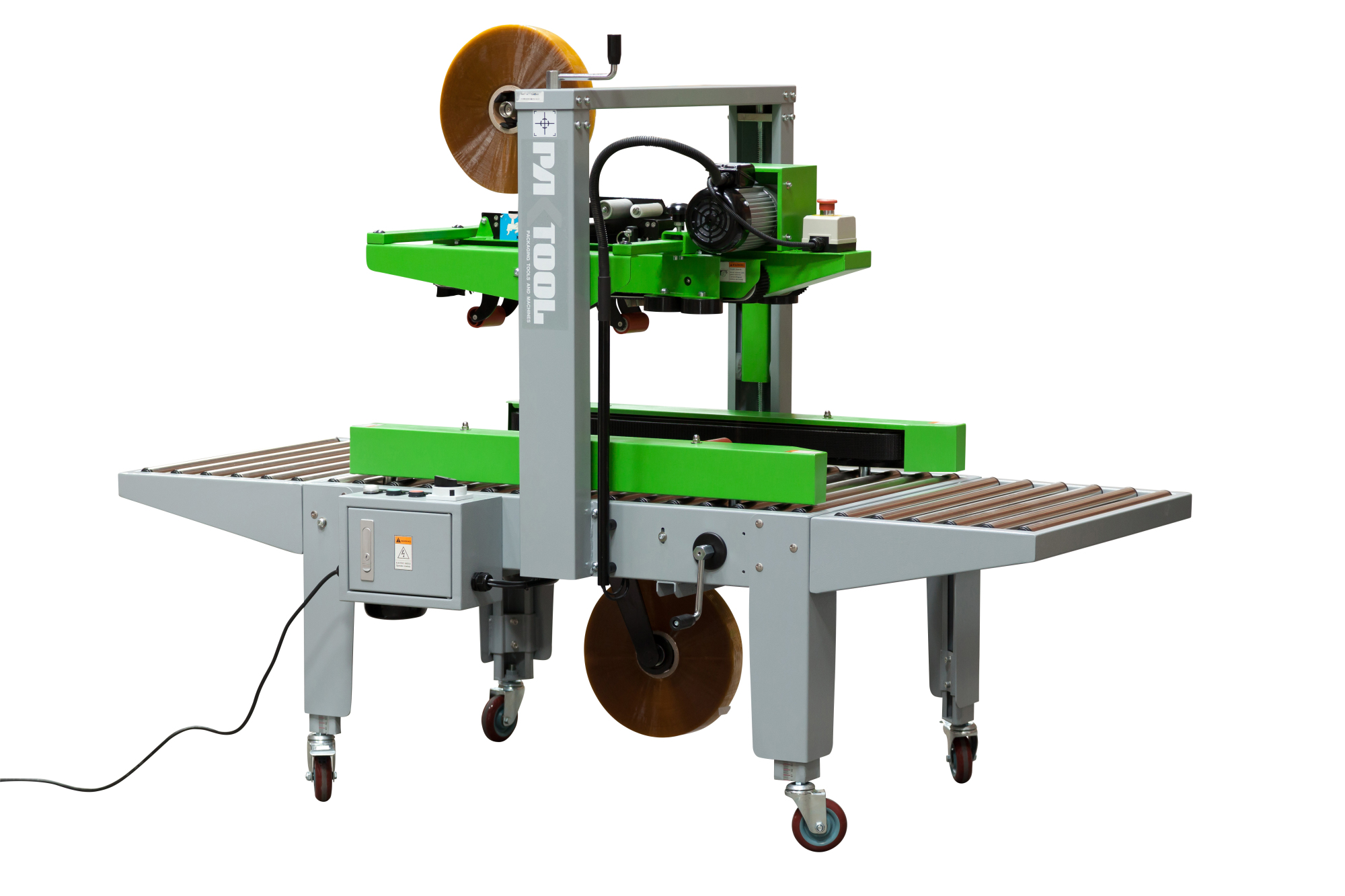 PAKTOOL Automatic Carton Sealer with Top and Side Drive Belts
