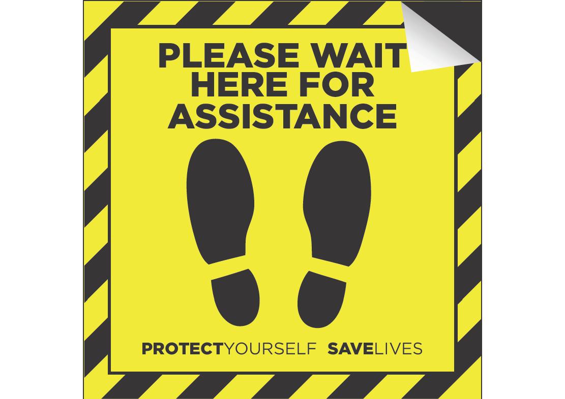 Anti Slip Floor Sticker A5 148 x 210mm 'Please Wait Here'