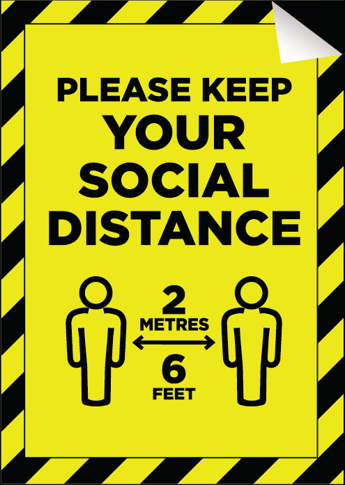 Anti Slip Floor Sticker A5 148 x 210mm 'Please Keep Your Social Distance'
