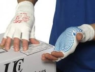 Dotted Grip Gloves Half Finger Size 8 Pr