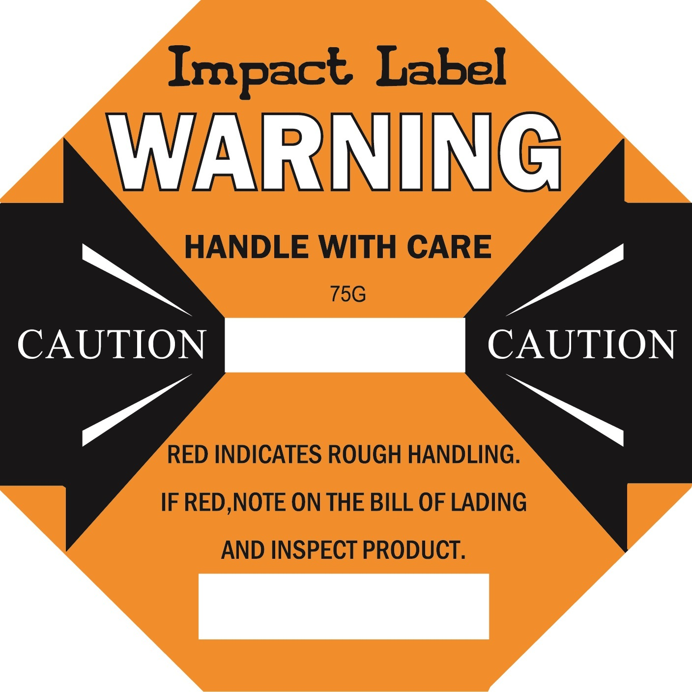 ORANGE 75G Impact Label