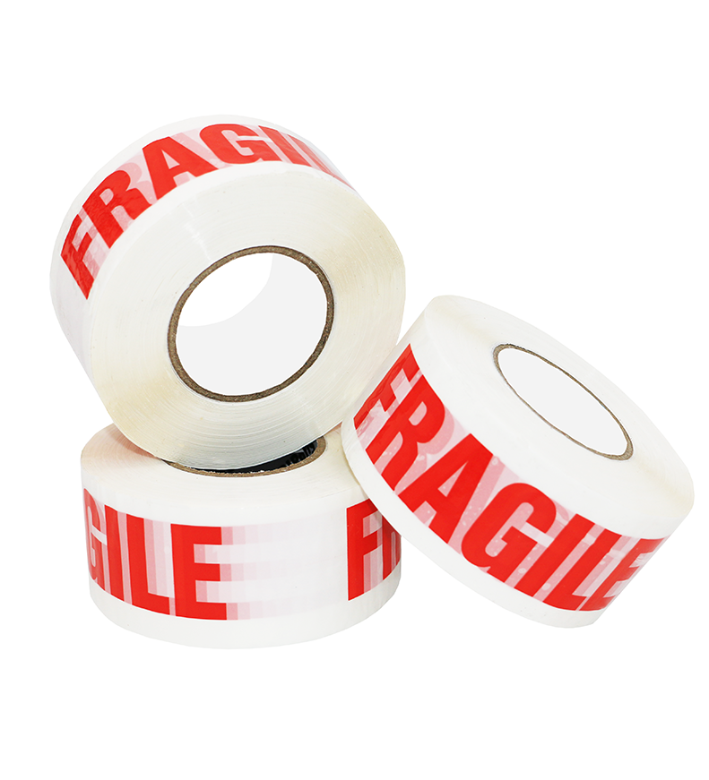 "50mm x 66m White Vinyl Tape Printed ""FRAGILE"""