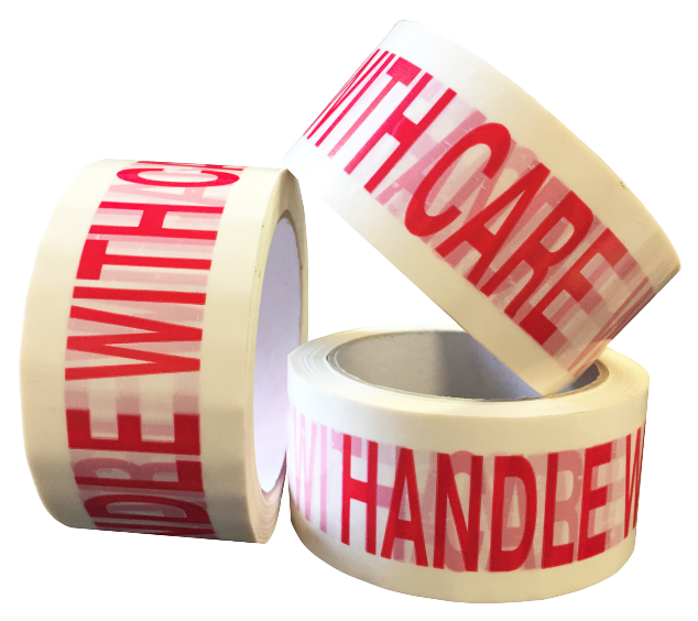 "50mm x 66m White Vinyl Tape Printed ""FRAGILE HANDLE WITH CARE"""
