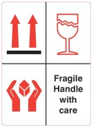 "108 x 79mm Combined ""Fragile, Handle with Care, This Way Up"" Labels"