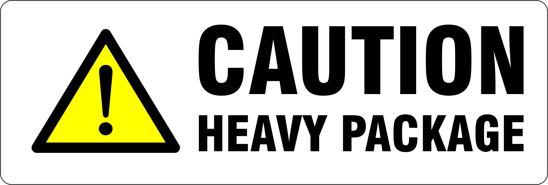 "148 x 50mm ""Caution Heavy Package"" Labels"