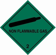 "100 x 100mm UN 2 Hazard Labels ""NON-FLAMMABLE GAS"""
