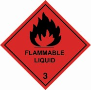 "100 x 100mm UN 3 Hazard Labels ""FLAMMABLE LIQUID"""