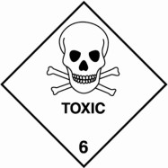 "100 x 100mm UN 6 Hazard Labels ""TOXIC"""