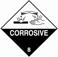 "100 x 100mm UN 8 Hazard Labels ""CORROSIVE"""