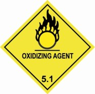 "100 x 100mm UN 5.1 Hazard Labels ""OXIDIZING AGENT"""