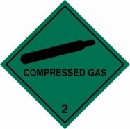 100 x 100mm Compressed Gas Label (250/Roll)