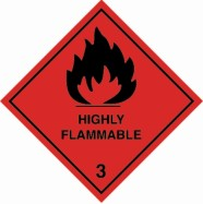 100 x 100mm Highly Flammable