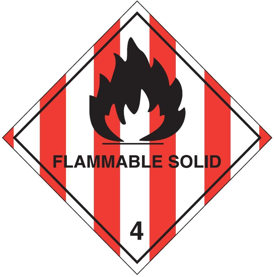 100 x 100mm Flammable Solid