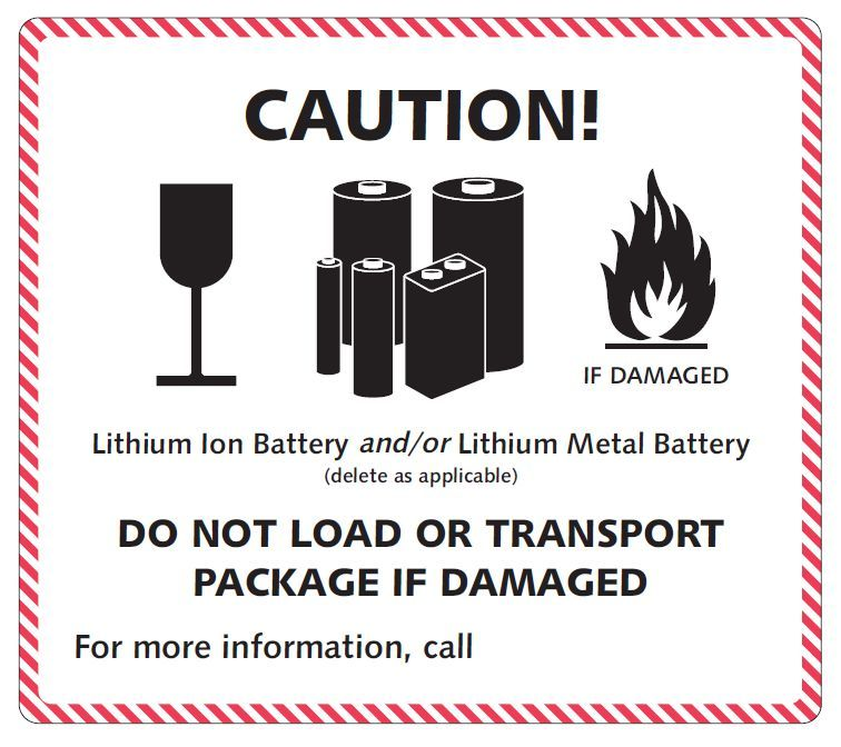 "100 x 100mm UN Hazard Labels ""Lithium Metal"""