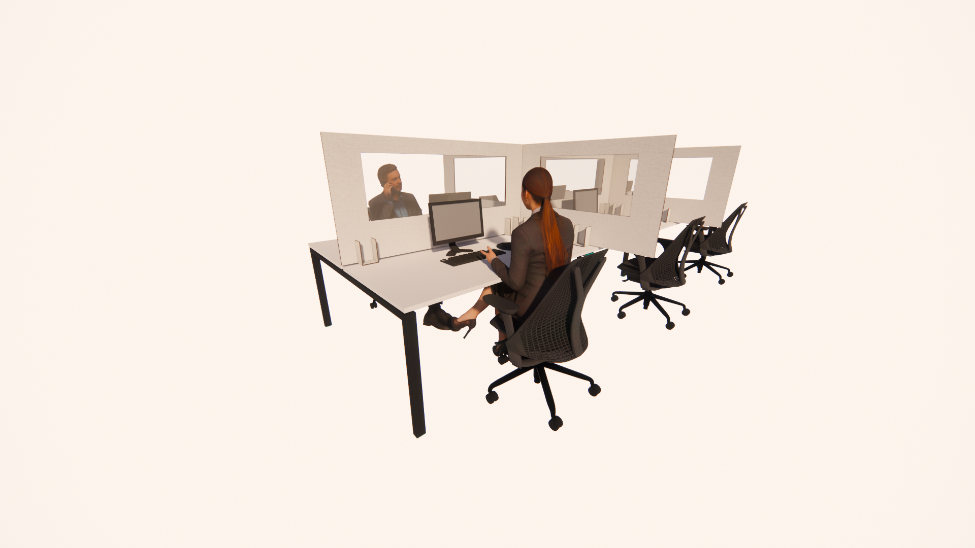750 x 1400-1600mm White Protective Desk Screen (5/pk)