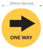 Circular Floor&Pavement Stickers 300mm Dia 'One Way - Arrow Right'