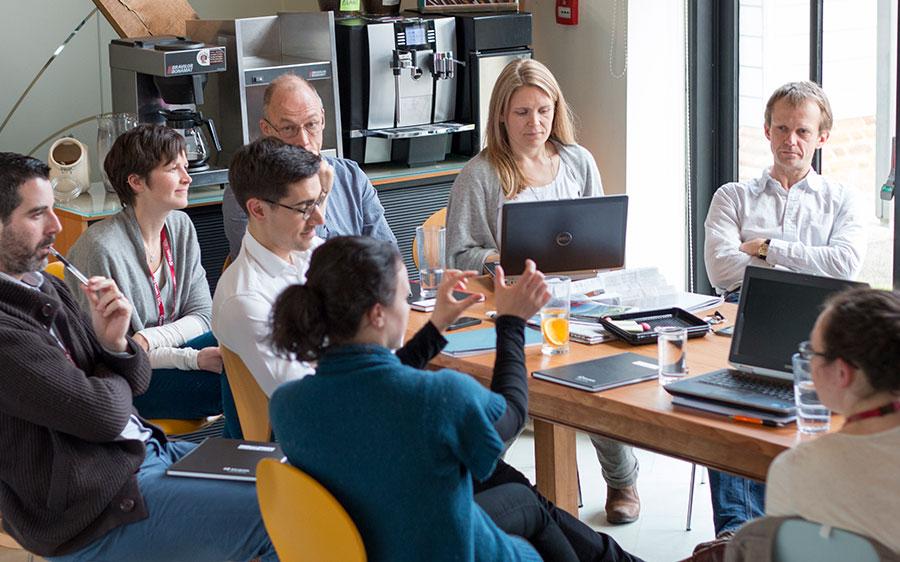 Human factors team talking