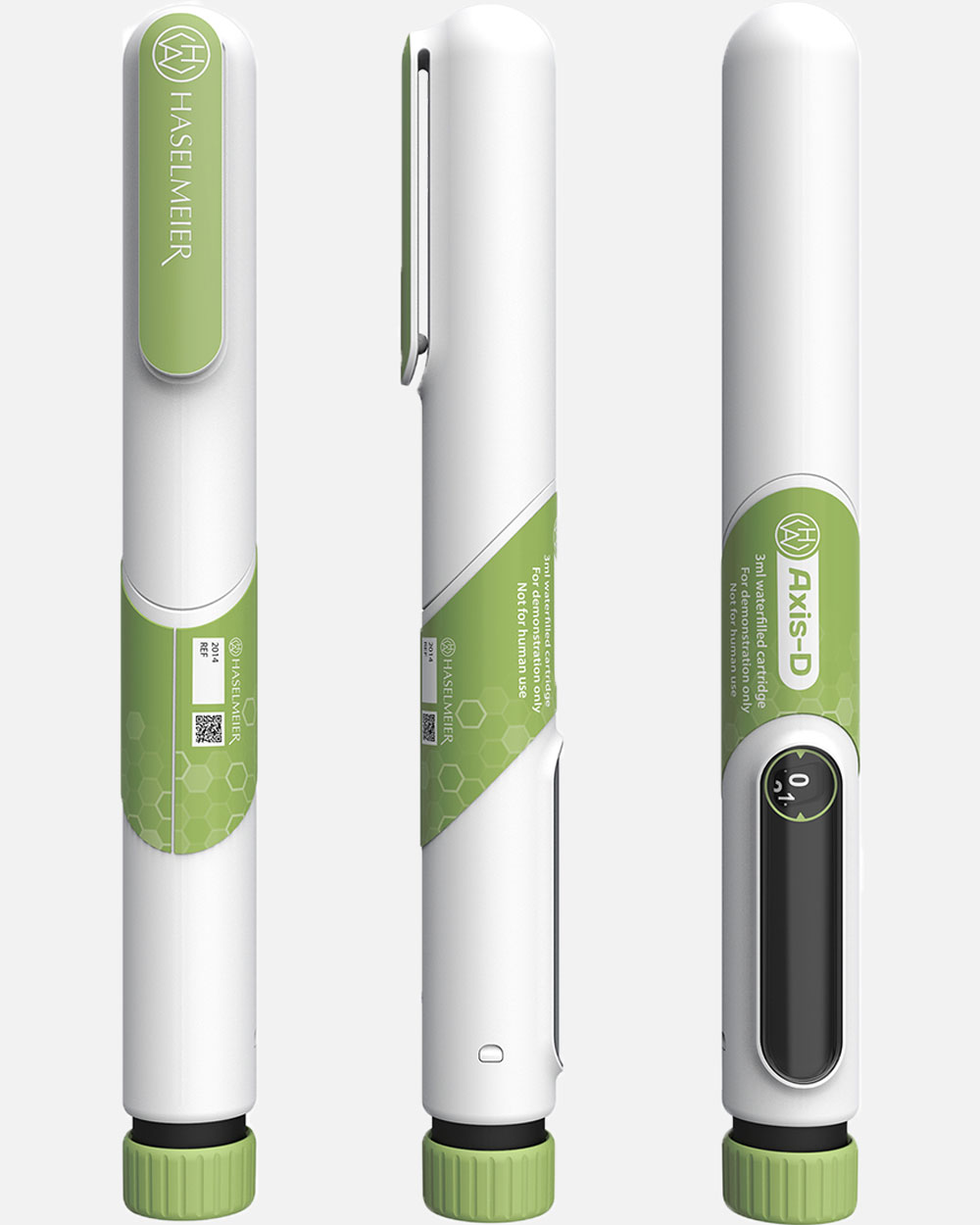 Product view of an insulin injector pen device