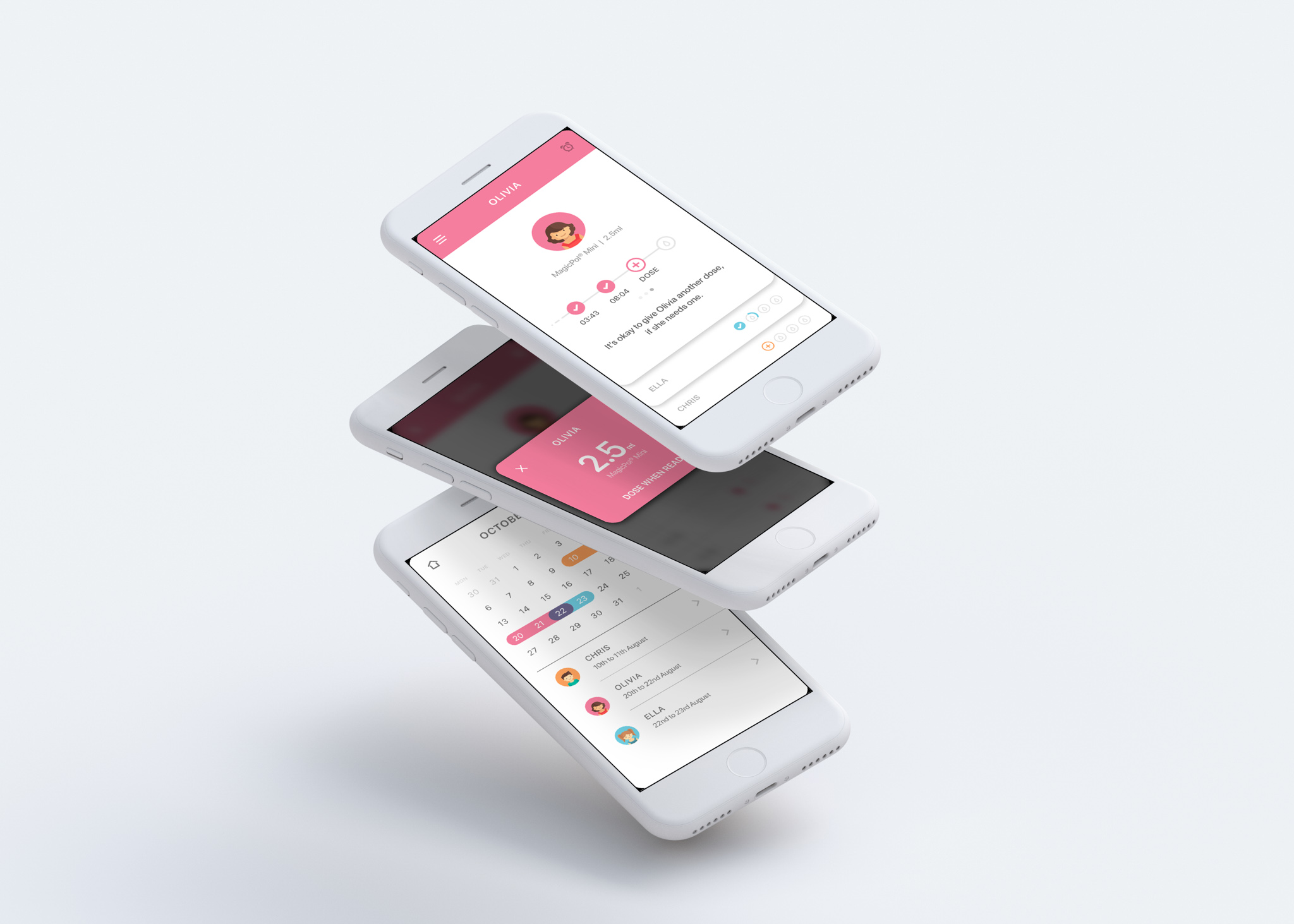 View of a medical app design on three different phones to show to user experience