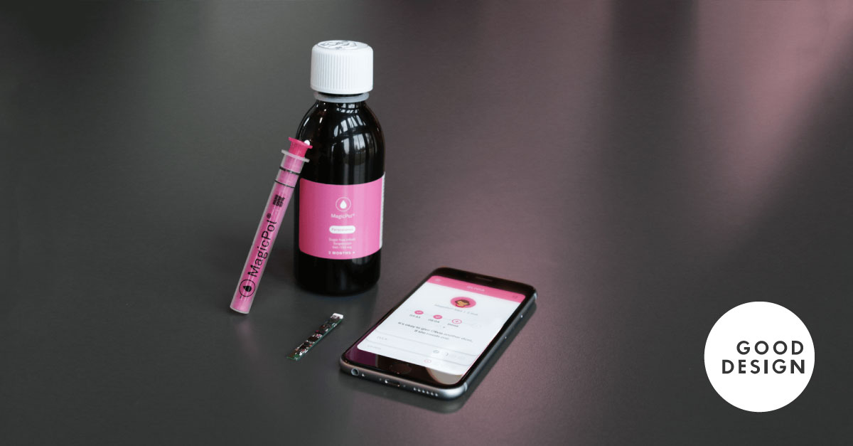 View of the Magicpol syringe and its accompanying app to show its design