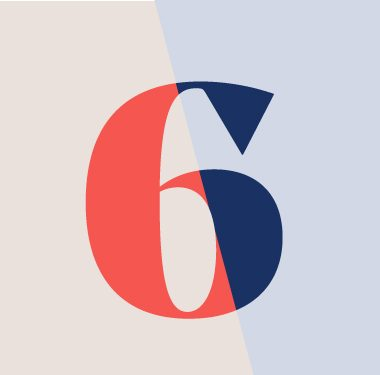 The number six to represent the six steps to innovation in medical device engineering