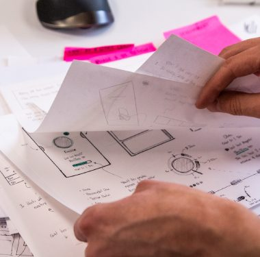 Blueprints of a medical app design to show the process of creating a great user experience