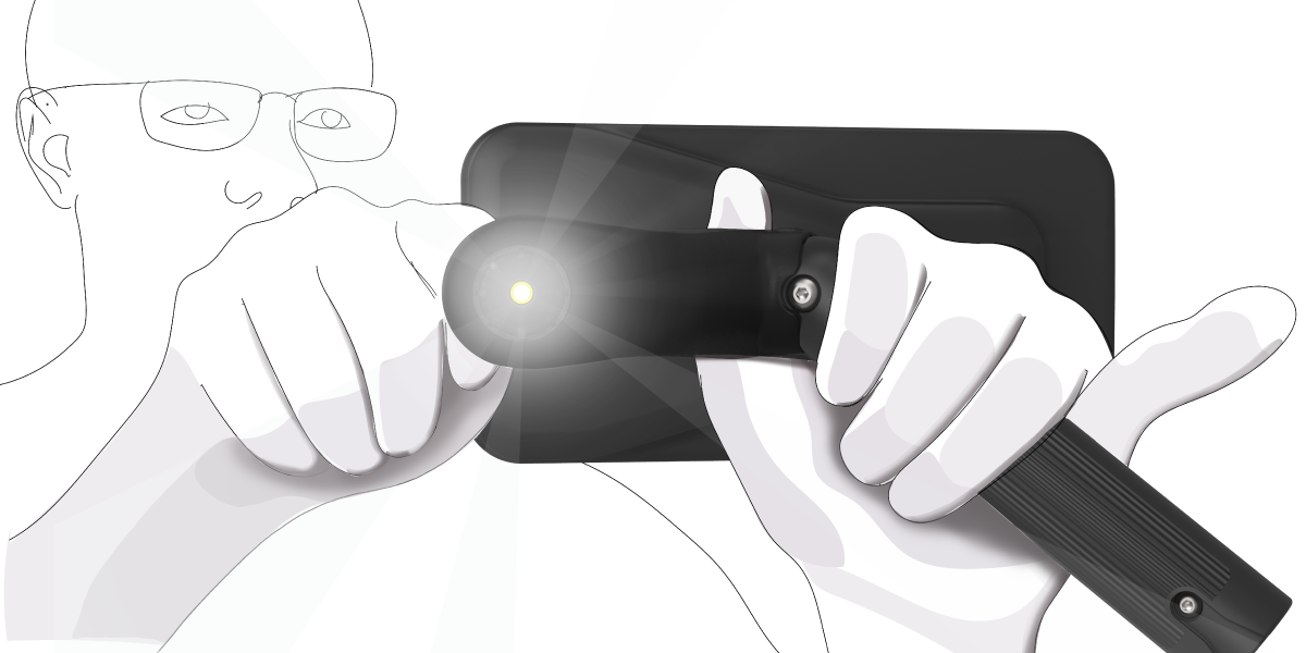 Illustration of someone using the digital otoscope phone attachment