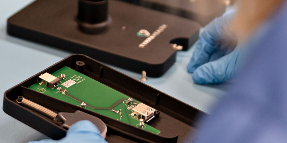 View of the digital otoscope electronics being assembled