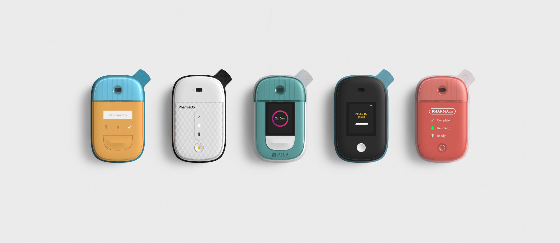 view of five personalized medical devices
