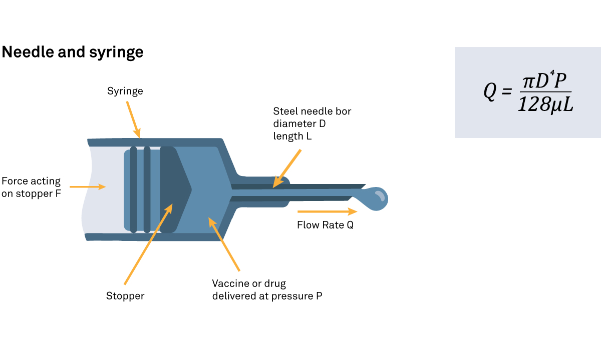 Diagram of a needle and syringe
