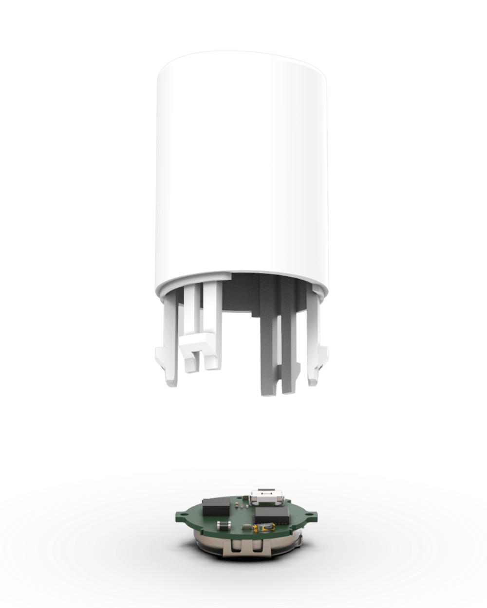 View of a connected auto injector device on a white background