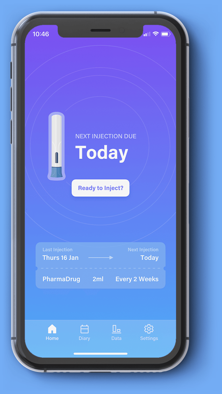 View of a connected auto injector device app on a smartphone