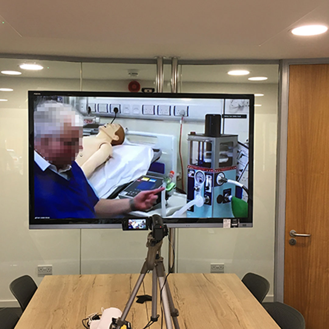 View of a video call testing the new emergency ventilator developed