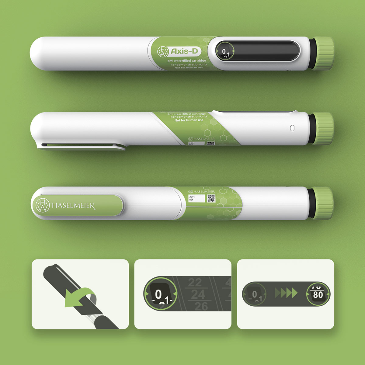 Product view of a variable dose injector pen