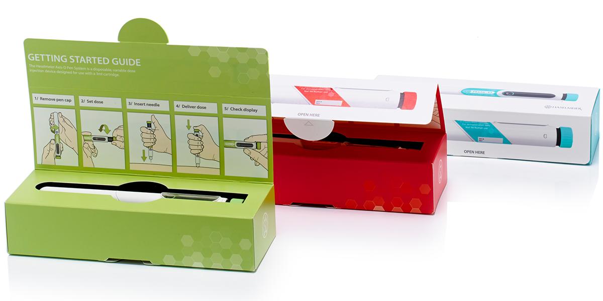 Three insulin injector pen packaging designs