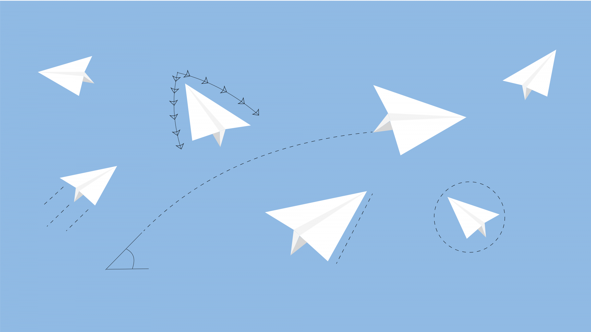 Several paper aeroplane graphics against a blue background.