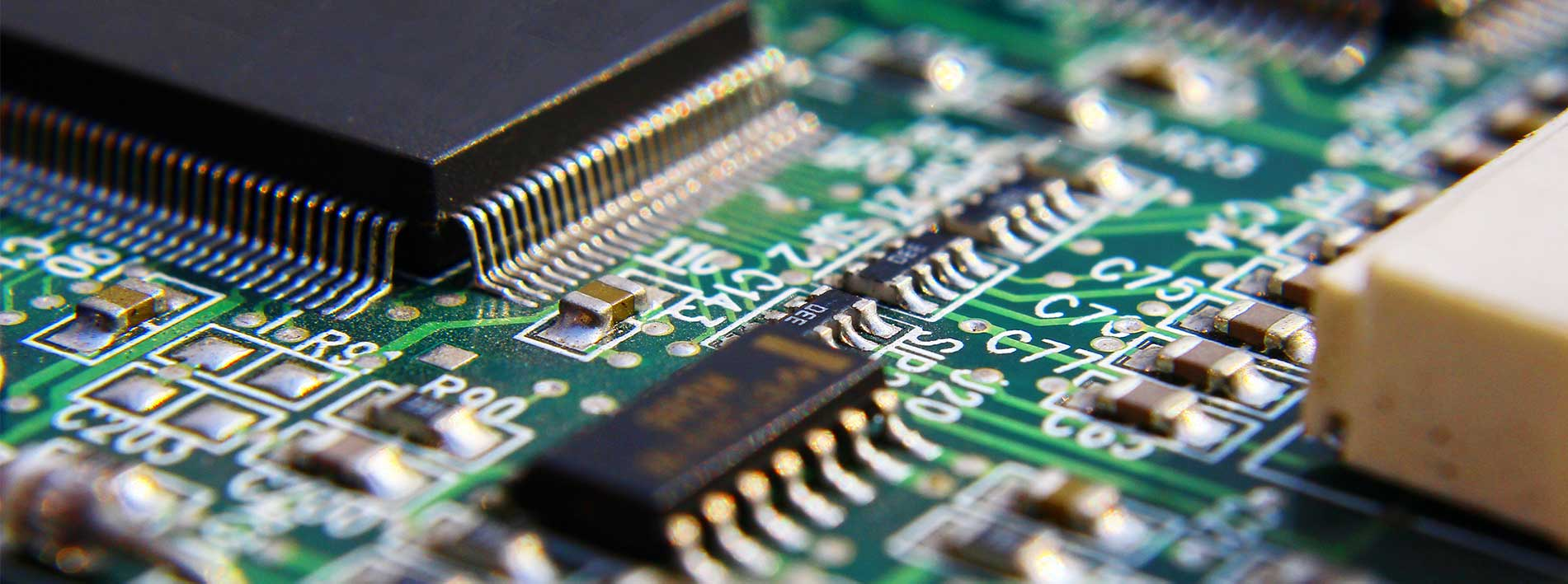 Close up of a printed circuit board for a medical device.